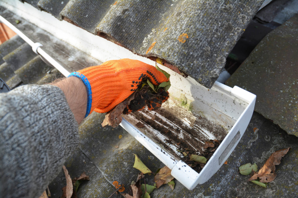 Plumber clearing leaves and debris from house roof gutter